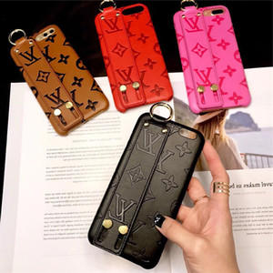 Wholesale New Monogram Leather Wristband Bumper Phone Case For Iphone XS Max XR X Plus Cellphone Cover Bracket Holster Colors