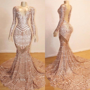 V Neck Long Sleeve Sequin Mermaid Long Prom Dresses Rose Gold Backless Gorgeous Sweep Train backless Evening Pageant Gowns on Sale