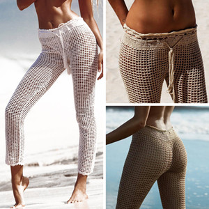 Wholesale New Women Summer Beach Hollow Out Bandage Elastic Pants See Through Mesh Crochet Flare Pant Sexy Party Trousers Bikini Cover Up