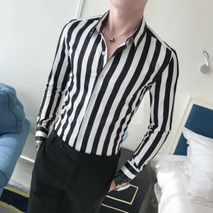 Wholesale Long sleeve Shirt Men clothing Casual Fashion Stripes Shirt for Men Dress Blouse Male Slim fit Black Coffee