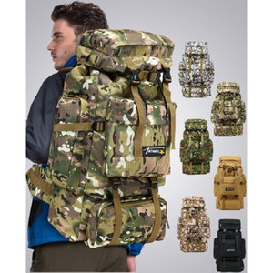 Wholesale 75L large capacity mountaineering bag camouflage camping hiking luggage backpack Factory Outlet