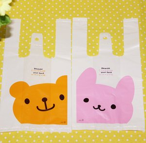 Wholesale 2019 pink rabbit yellow bear pattern decoration plastic bag gift wrap packing favors gifts bags kids favor party supply