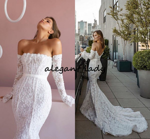 Wholesale gold mermaid strapless for sale - Group buy Mermaid Beach Wedding Dresses With Long Sleeve Strapless Modest D Floral Lace Pallas Couture Princess Bohemian Bride Gown