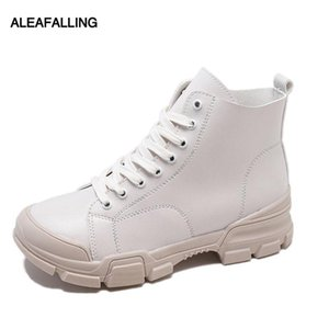 Wholesale Aleafalling Simple Women Boots Lace Up Lace Up Cute Simple Smart Shoes Girl s High Tube Pu Leather Spring Autumn Boots WBT170