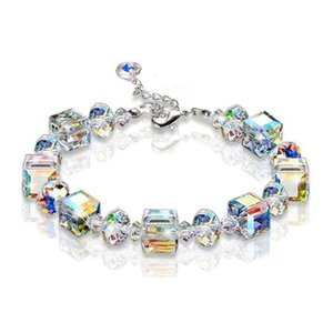 Wholesale New Sparkling Aurora Crystals Link Chain Stretch Bracelet Women Fashion Jewelry Gift Square Shape Bracelet