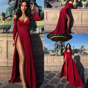 Wholesale 2019 New Fashion Sexy Burgundy Prom Dresses Off Shoulder Cheap Simple High Side Split Long Sleeves Velvet Formal Evening Dresses