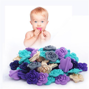 Silicone Beads 50 pieces lot Rose Flower Baby Teether Silicone Beads Charm Teething Pentant For Necklace BPA Free