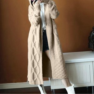 Wholesale korean Long Cardigan Women Autumn Fashion Long Knitted Hoodie Sweater Female Oversized Tops Fall Casual Black Coat Winter