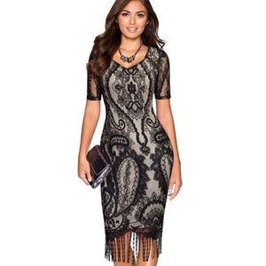 Wholesale Mila Women Sexy Lace Tassel Dress V Neck Package Hip Club Party Bandage Dresses Short Sleeve Hot Fashion Bodycon