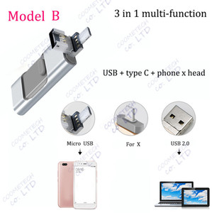 Wholesale 3 in type C usb phone x head shrinkable memory flash drive portable g g g g g u disk multi function usb flash drives pen