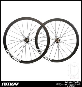Wholesale wheel discs for sale - Group buy Asymmetric carbon Tubular offset road bike wheels cyclocross disc wheels