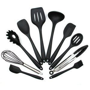 10PCS Silicone Non-stick Cooking Utensils Tools Set Heat Resistant Spoon Spatula Egg Beaters Kitchen Dinnerware Gadgets Accessories