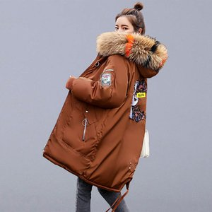 Winter Warm Thicken Long Jackets Casual Coats Women New Embroidery Fur Hooded Parkas Female Cotton Padded Outerwear Coats P109 V191019 on Sale