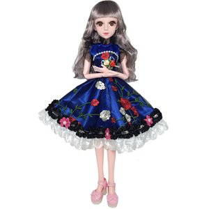 Wholesale 60cm Movable Joints White Skin Bjd Dolls Princess Dress Girl Toys D Eyes Clothes Shoes Accessories BJD Doll Toy for Girls MX191030