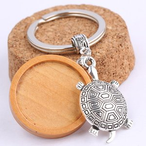 Wholesale Fit mm wood cabochon keychain base setting with turtle charm diy metal keyring for key chain keyring making