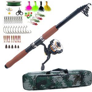 Wholesale Fishing Rod Combo set Sea Spinning rod reel bag kit with fishing lure hook Texas rig kit tackle tools