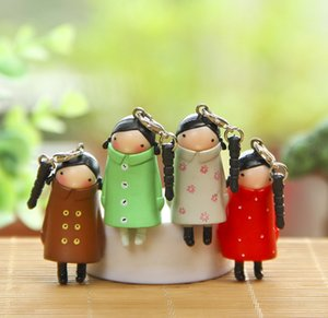 Ponytail Long Coat Girl Doll Keychain Cartoon 3D Doll Keychain Handmade Cute Doll Keyring Classic Couple Bag Pendant Company Party Gift 352