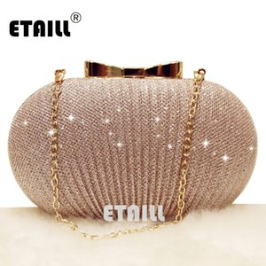 Wholesale ETAILL Champagne Nude Clutch Evening Bag for Women Glitter Party Banquet Bag Girls Wedding Clutch Chain Shoulder