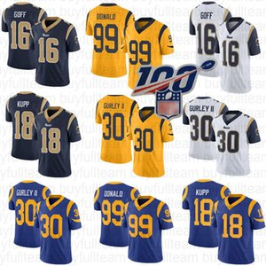 Wholesale 16 Jared Goff Cooper Kupp Todd Gurley II Los Angeles Mens Aaron Donald Ram Dark Blue White Gold and Royal Blue Jerseys