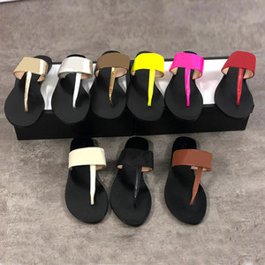 Wholesale Genuine leather women designer sandal luxury flip flops Metal Summer slipper Large size with box colors
