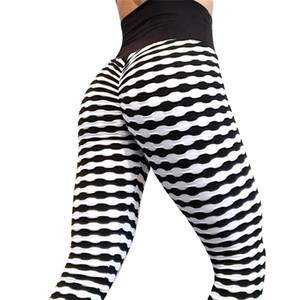 Wholesale Yoga Pleated Stripes High Waist Pants Sports Leggings Black White Fitness Workout Pants Gym Training Sportswear