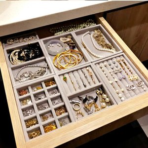 Wholesale earring s resale online - New Drawer DIY Jewelry Storage Tray Ring Bracelet Gift Box Jewelry Organizer Earring Holder Most Room Space S M size options