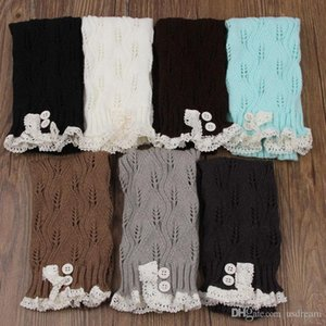 Wholesale Knit Button Lace Socks Boot Loose Socks Stockings Leg Warmers Warm for Women Girls Chritsmas Gift Drop Ship