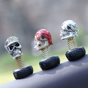 Wholesale Car Ornaments Fashion Punk Resin Skeleton Shaking Head Decoration Creative Rock Skull Automobile Internal Decor Accessories Gift