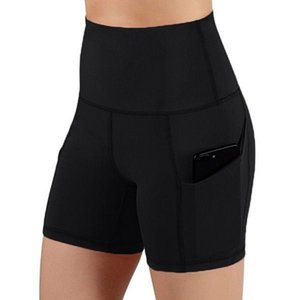 ingrosso pantaloncini a compressione per le donne-Nuove donne Girl Sports Gym Compression Pocket Pocket Wear In Base Layer Short Pants Athletic Solid Tights Collas Pantaloncini Pantaloni da corsa Pantaloncini da corsa