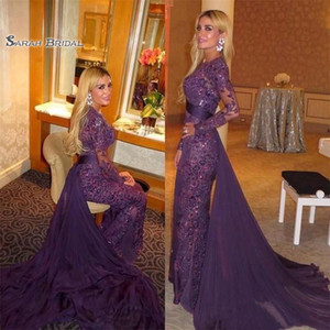 Wholesale 2020 Long Sleeves Sexy Evening Dress with Overskirts Full Lace Prom Dresses Mermaid Celebrity Gown Sheer Bodice Vestidos De Novia