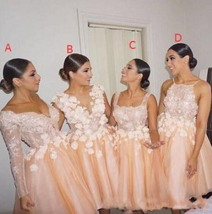 Wholesale 2020 Latest Short Bridesmaid Dresses Mixed Style Prom Party Gowns Lace Applique Long Sleeves Backless Maid Of Honor Dresses