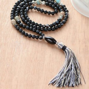Wholesale Women Necklace Black Stripe Onyx Stones with Colorful Tassel Beads Necklace Bohemia String Knotted Women Yoga Necklace Dropship