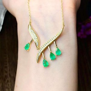 Wholesale Emerald Pendant Natural Real Emerald necklace Solid S925 Sterling Silver For Women Colour Gem Stone Rings Fine Jewelry