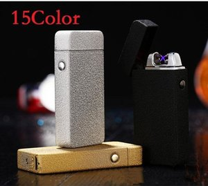 Wholesale Double fire cross twin arc pulse Electronic Cigarette lighter electric arc Lighter colorful charge usb lighters windproof b238