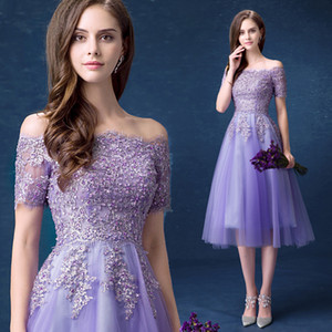 Wholesale Purple off shoulder beads sequins organza lace illusion short sleeve lace-up vestido knee length party show prom evening dress plus size