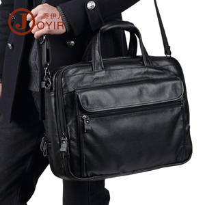 мужские посыльные сумки оптовых-New Genuine Leather Men Briefcases Laptop Bags Large Capacity Business Handbag Messenger Shoulder Bag Men s Briefcase