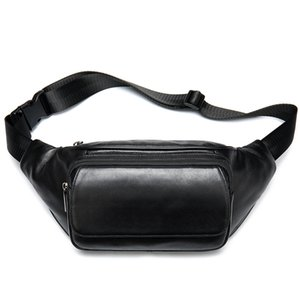 Wholesale Genuine Leather Men Messenger Bag Fashion Waist Pack for Cell Phone Male Cow Leather Chest Bag Shoulder Bags Black Fanny Pack