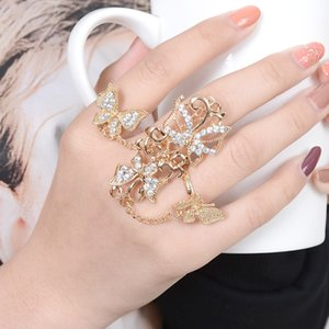 Fashion New Rings Rhinestone Flower Butterfly Full Finger Ring Gold Chian Adjustable Women Jewelry Link Double ring