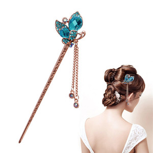 Wholesale Women Elegant Charm Blue Crystal Bobby Pin Fashion Hairpin Rhinestone Hair Stick SH190729