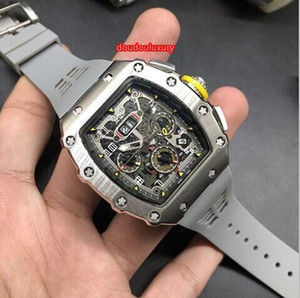 Wholesale Silver Stainless Steel Barrel Case Men s Automatic Watches Grey Rubber Strap Watch Sports Fashion Hot Watches