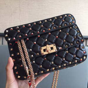 Wholesale silver nails resale online - Chain Crossbody Bag Rivet Pack Wallets Purses Fashion High Quality Gold Nails Series Sheepskin Genuine Leather Women Chain Handbags