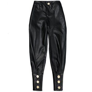 New Fashion Black High Quality PU Leather Harem Pants For Women Casual High Waist Trousers Personality on Sale