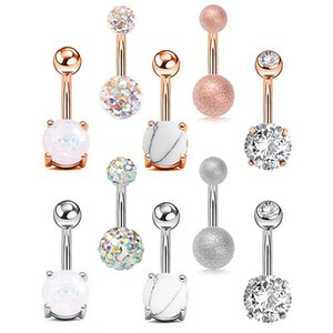 Wholesale belly buttons resale online - DS82 Sexy L Surgical Steel Bar Belly Button Rings Women Crystal ball Girls Navel Piercing Barbell Earring Stone Body Jewelry set