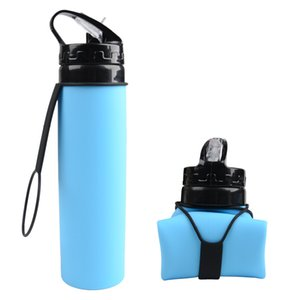 Silicone Sports Collapsible Water Bottle Outdoor Travel Water Bottles Straw Folding 5 Colors Drinking Bottle IIA241