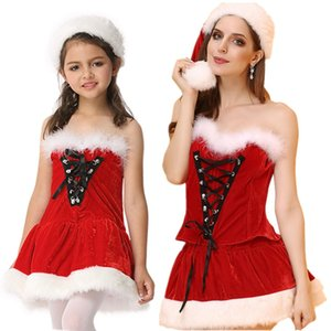 Wholesale women christmas outfits for sale - Group buy Ms Santa Costume Christmas Outfit with White Fuzzy Trim For Girls and Women Lace up Corset Bustier Top n Skirt Hat Set Clubwear M XXL