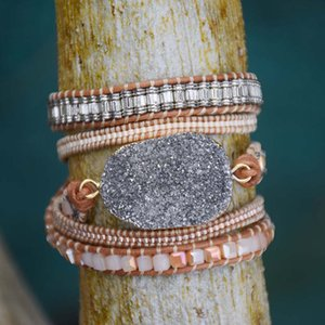 Wholesale Big Natural Grey Druzy Stone Bracelet Vintage Leather Wrap Bracelet Boho Miyuki Seed Beads Wraps Dropship