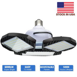 Stock In USA - 60W 80W LED Garage Light Standard E27 6000K Deformable Garage Lighting Led Shop Lights for Warehouse Workshop Basement Barn