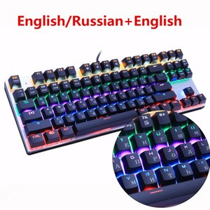 Wholesale Metoo Russian English Backlit Gaming Genuine Mechanical Keyboard Anti ghosting Luminous LED Blue switch Wired Keyboard