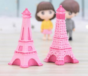 Wholesale New Fairy Garden Pink Eiffel Tower Resin Craft Miniature Desktop Room Decoration Micro Landscape Accessory Cactus Planter Gift