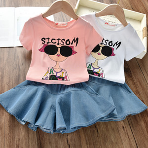 Wholesale New 2PCS Toddler Kids Girl Clothes Set Summer Short Sleeve Cool Girl T-shirt Tops Skirt Outfit Child Suit New Denim skirt +t-shirt suit